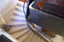 Quarter-turn staircase / stone steps / steel frame / with risers