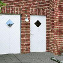 Service door / swing / galvanized steel / semi-glazed