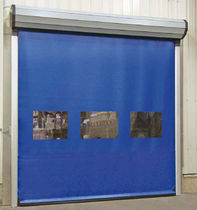 Roll-up industrial door / aluminum / PVC / automatic