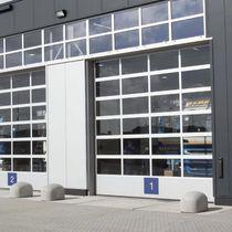 Sectional industrial door / aluminum / acrylic / automatic