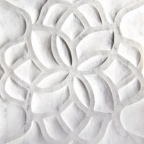 3D stone wall tile: floral pattern HAND CARVED : MARBLE LOTUS ARTISTIC TILE