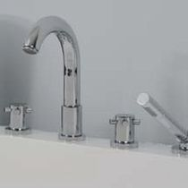 4 hole bath-tub double handle mixer tap PLAISANCE  MARGOT