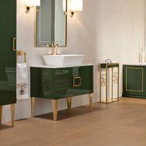 Free-standing washbasin cabinet / walnut / classic / kit