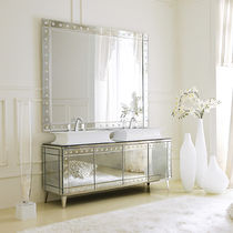 Double washbasin cabinet / free-standing / glass / traditional