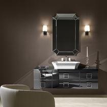 Wall-hung washbasin cabinet / walnut / classic / with mirror