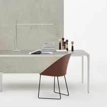 Contemporary table / metal / wood veneer / laminate