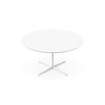 Contemporary dining table / MDF / aluminum / round
