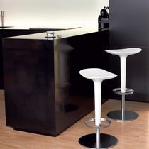 Contemporary bar stool / leather / stainless steel / textile