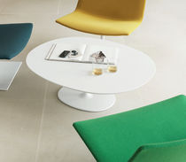 Contemporary coffee table / MDF / lacquered steel / round