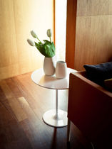 Contemporary pedestal table / MDF / lacquered steel / round