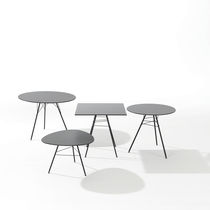 Contemporary table / steel / HPL / round