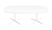 Contemporary conference table / MDF / round / oval