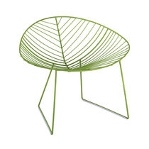Contemporary armchair / painted steel / sled base / GreenGuard® certification
