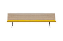 Contemporary bench / wooden / steel / aluminum