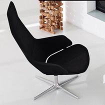 Contemporary armchair / leather / aluminum / swivel