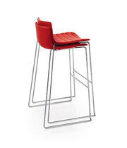 Contemporary bar chair / upholstered / stackable / sled base