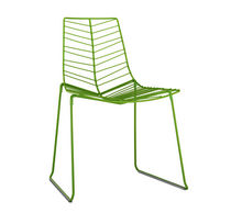 Contemporary chair / stackable / GreenGuard® certification / sled base