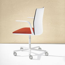 Contemporary office chair / fabric / leather / with armrests