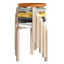 Contemporary stool / birch / lacquered wood / leather