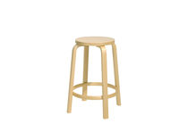 Contemporary stool / birch / leather / upholstered