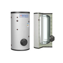 Solar hot water tank / free-standing / vertical / residential