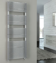 Hot water towel radiator / stainless steel / contemporary / wall-mounted
