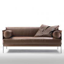 Contemporary sofa / leather / metal / fabric