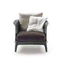 Contemporary armchair / leather / with removable cushion / by Carlo Colombo