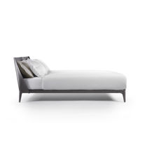 Double bed / contemporary / with upholstered headboard / leather
