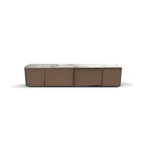 Contemporary TV cabinet / wooden / leather / marble