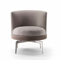 Contemporary fireside chair / fabric / leather / wooden
