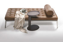 Contemporary upholstered bench / fabric / leather / metal