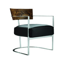 Contemporary armchair / solid wood / metal / fabric
