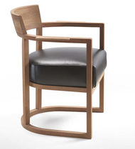 Contemporary chair / with removable cover / upholstered / with armrests