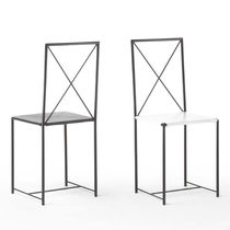 Contemporary chair / leather / lacquered metal