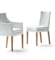 Contemporary chair / upholstered / with removable cover / fabric