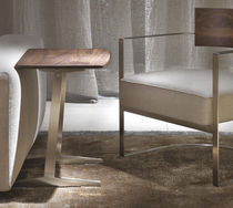 Contemporary side table / metal / solid wood / rectangular