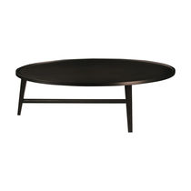 Contemporary coffee table / solid wood / round