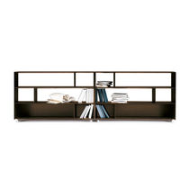 Low bookcase / contemporary / metal / leather