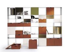 Modular shelf / contemporary / metal / glass