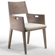 Contemporary dining chair / with armrests / upholstered / with removable cover