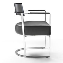 Contemporary dining chair / with removable cover / upholstered / with armrests