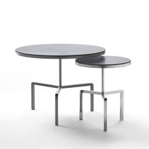 Contemporary side table / wooden / metal / round