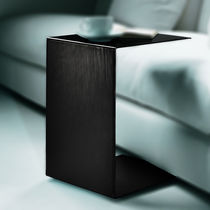 Contemporary side table / metal / leather / rectangular