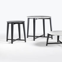 Contemporary side table / marble / solid wood / round