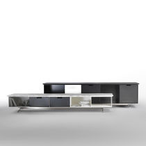 Contemporary sideboard / metal / leather / marble