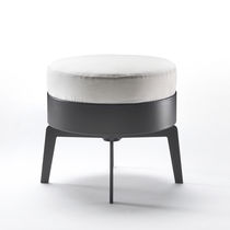 Contemporary footrest / metal / wooden / leather
