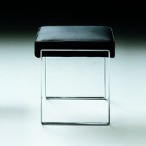 Contemporary stool / leather / metal / fabric