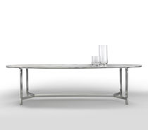 Contemporary dining table / metal / marble / oval