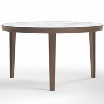 Contemporary dining table / marble / solid wood / round